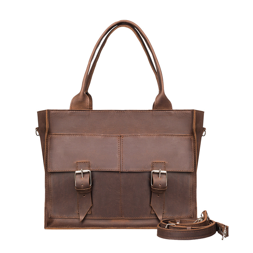 Leather tote purse with zipper - 1
