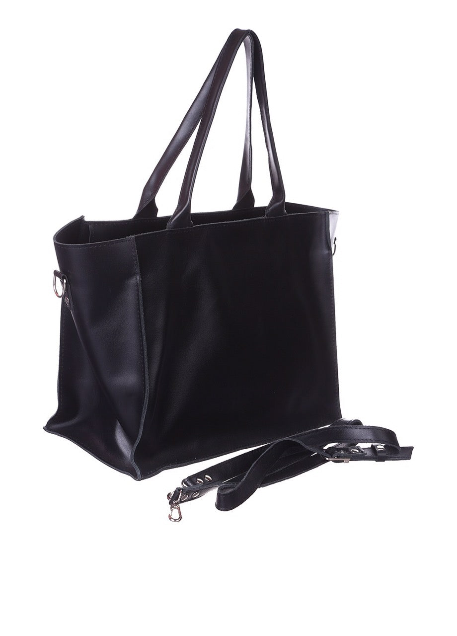 Big black leather tote bag - 2