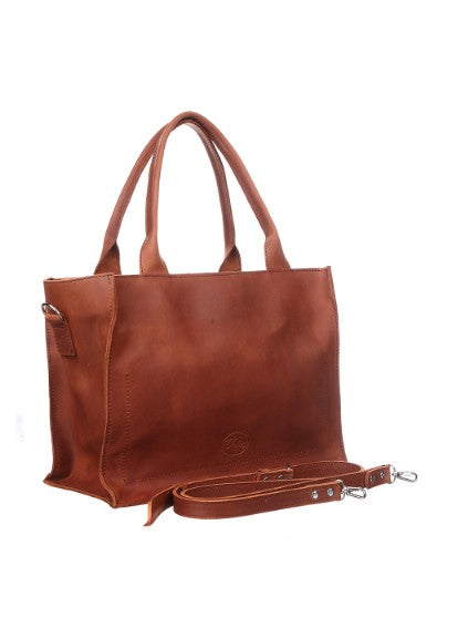Brown leather tote with zipper - 3