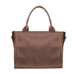 Leather tote purse with zipper - 2