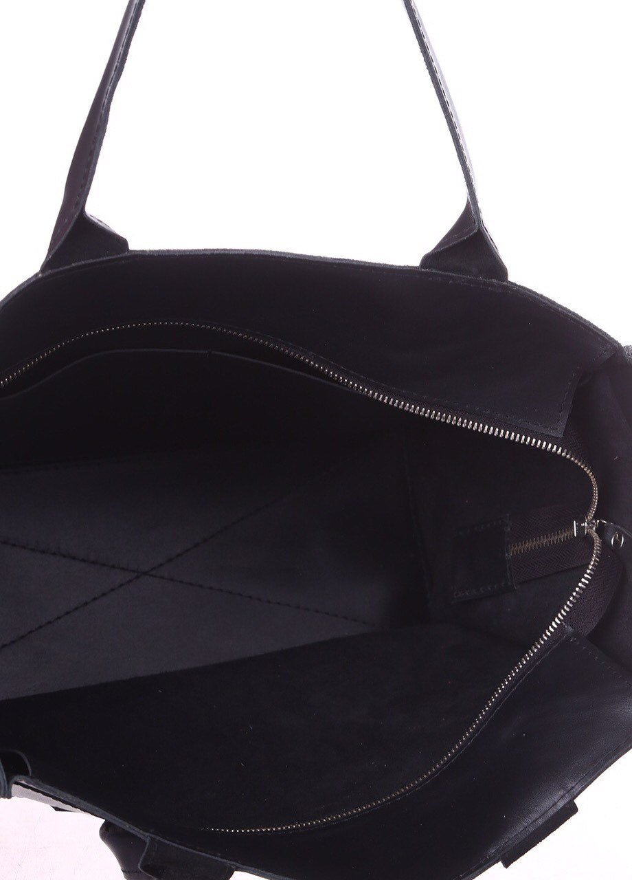 Big black leather tote bag - 3