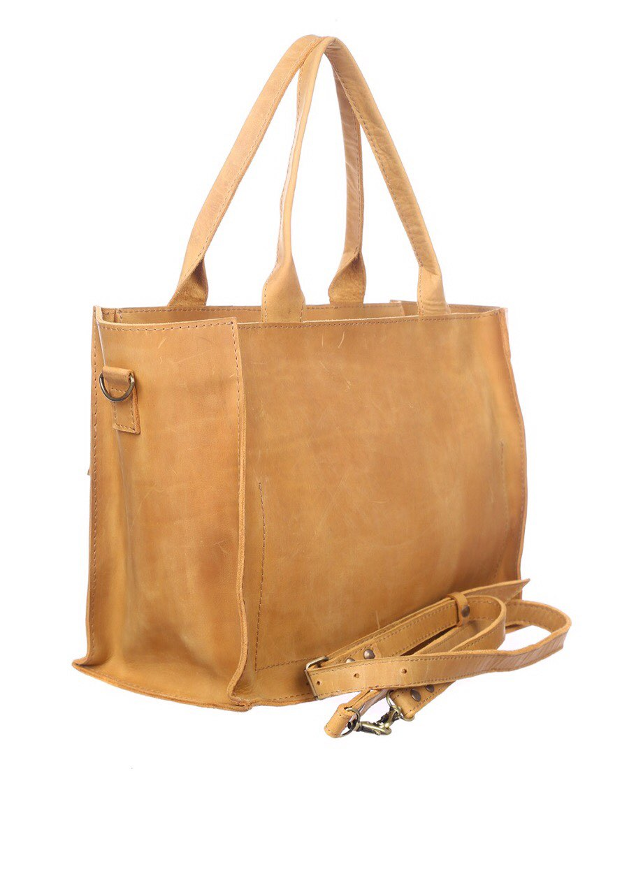 Yellow leather tote - 3