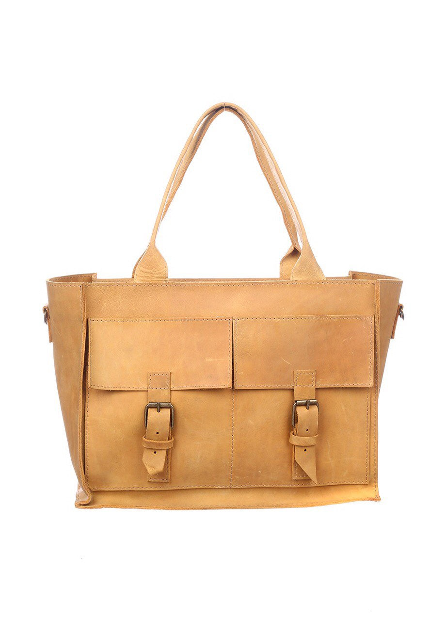 Yellow leather tote - 1