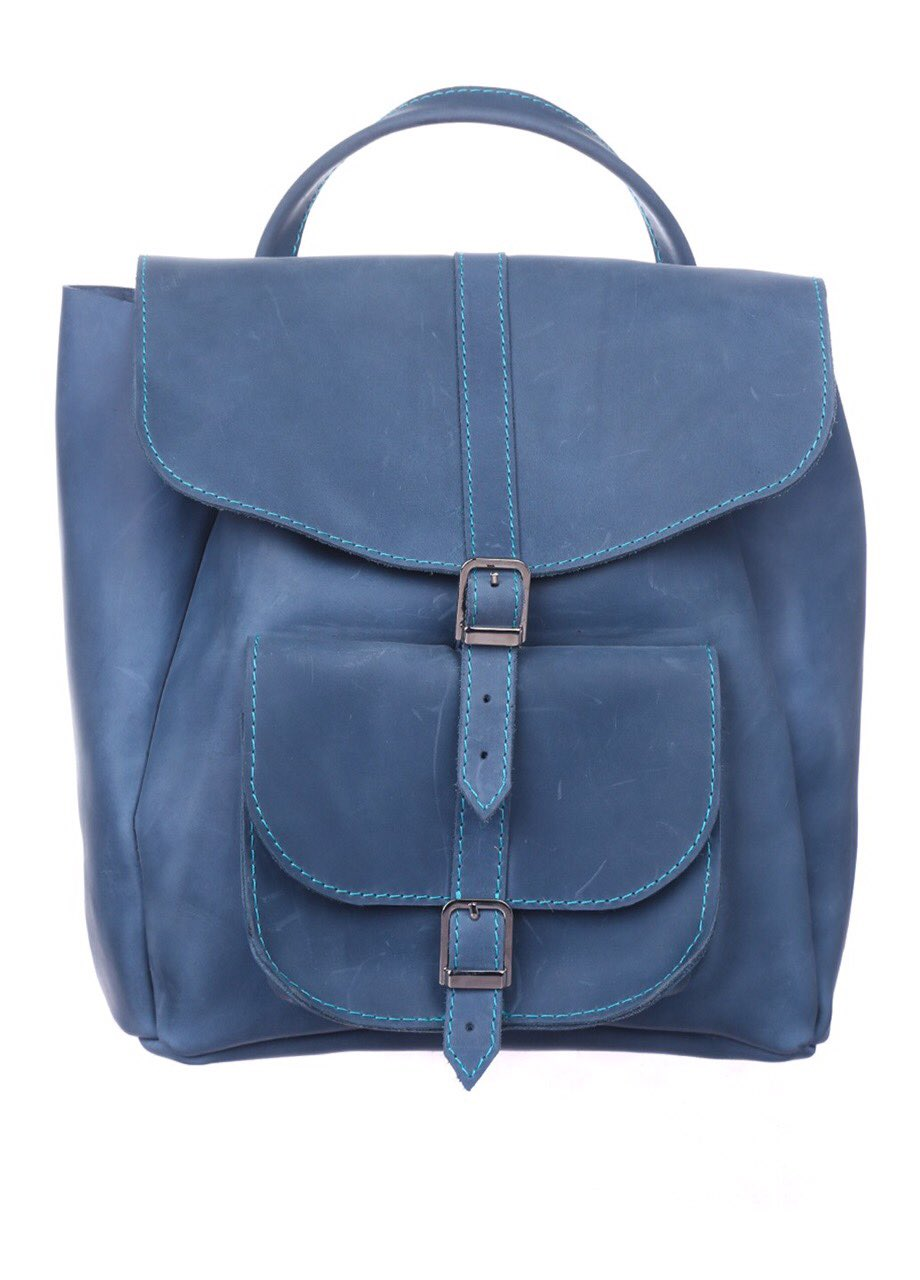 Blue leather rucksack - 1