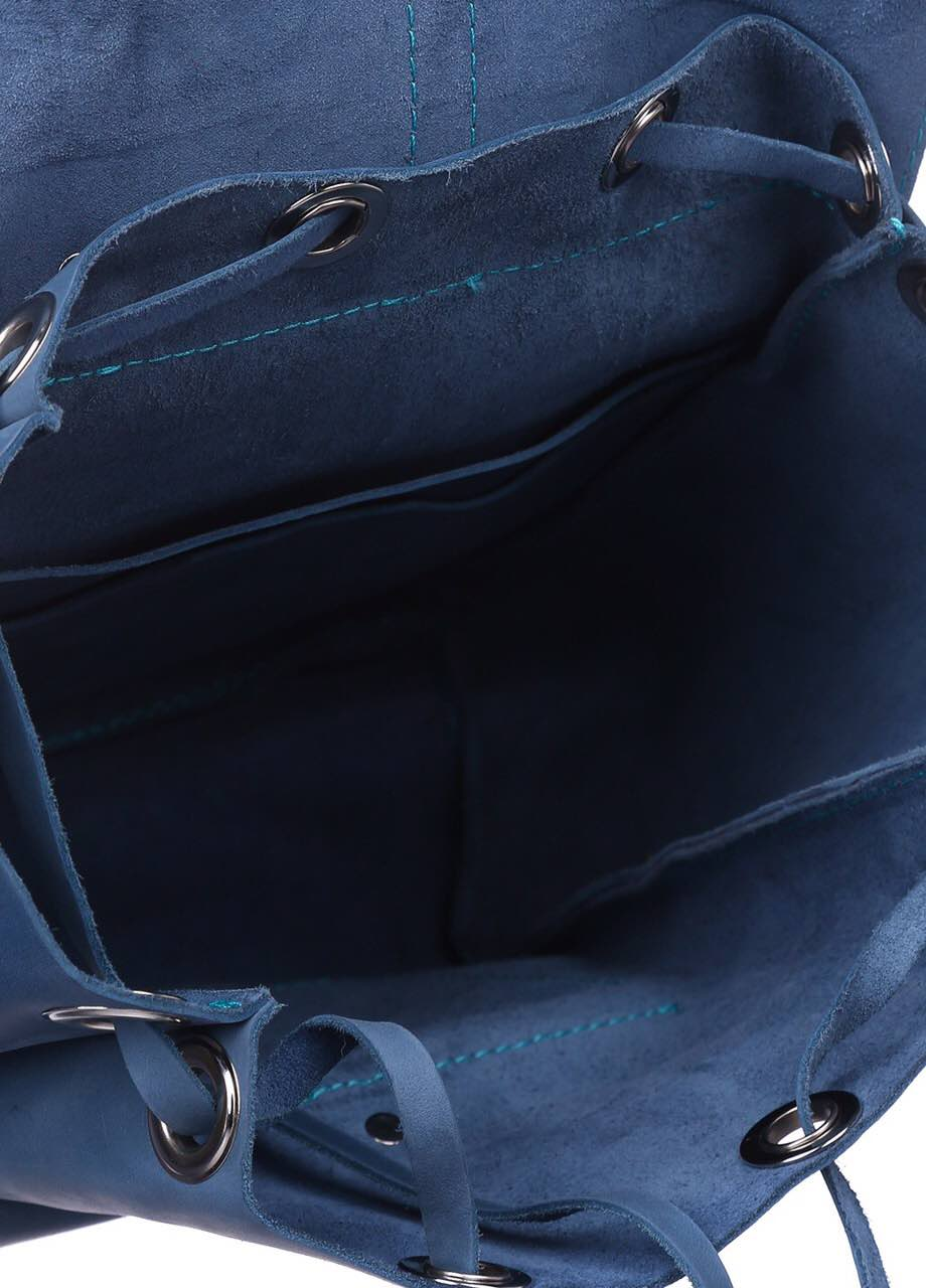 Blue leather rucksack - 3
