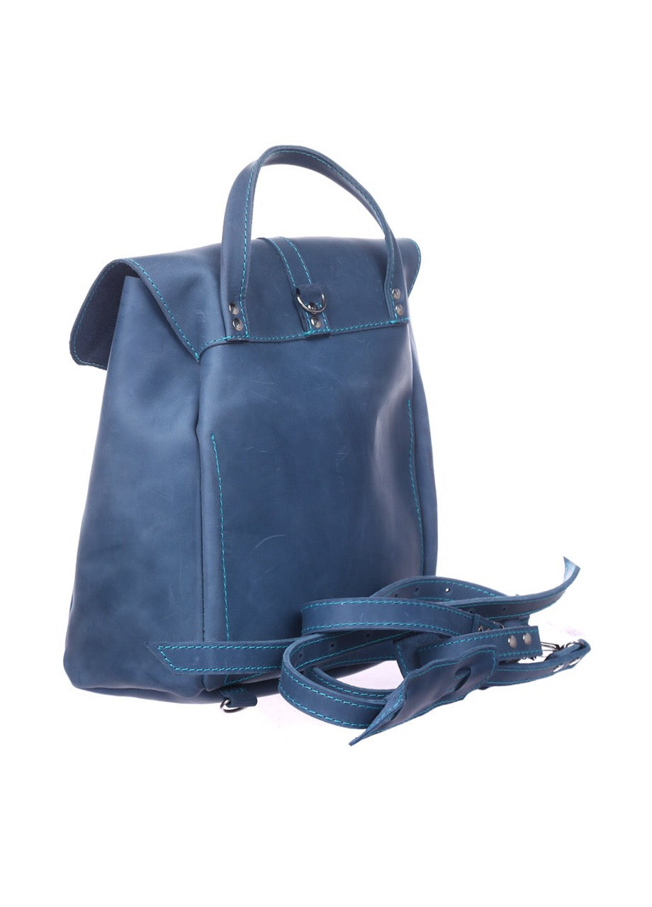 Blue leather rucksack - 2