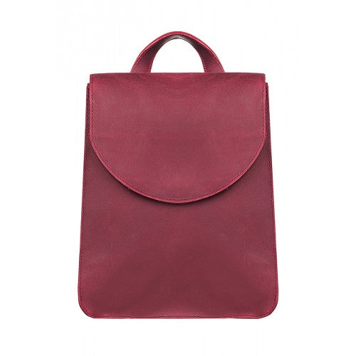 Burgundy leather backpack - 1