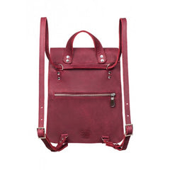 Burgundy leather backpack - 2