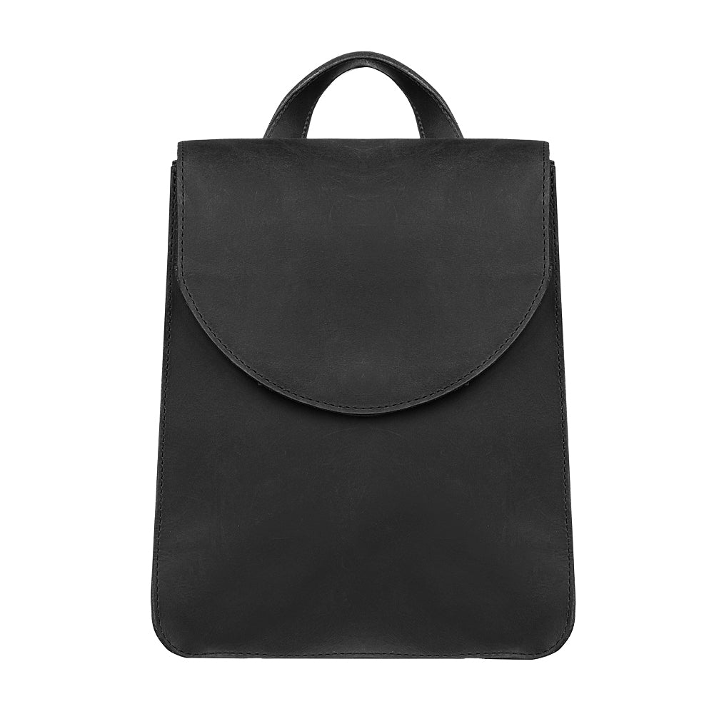 Stylish black leather backpack - 1