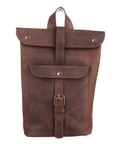 Dark brown leather backpack - 1