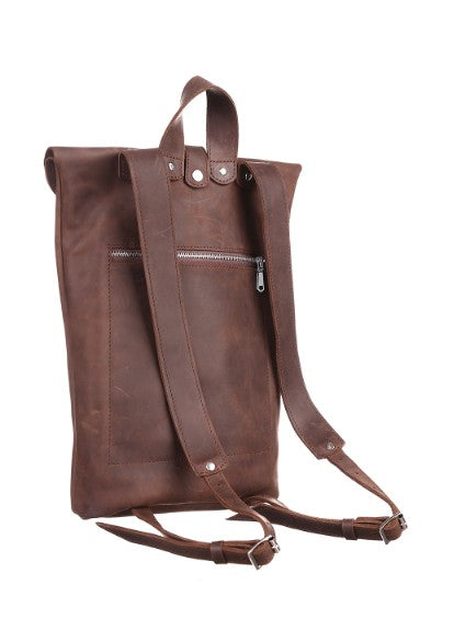 Dark brown leather backpack - 2