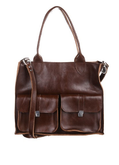 Dark brown leather bag - 1