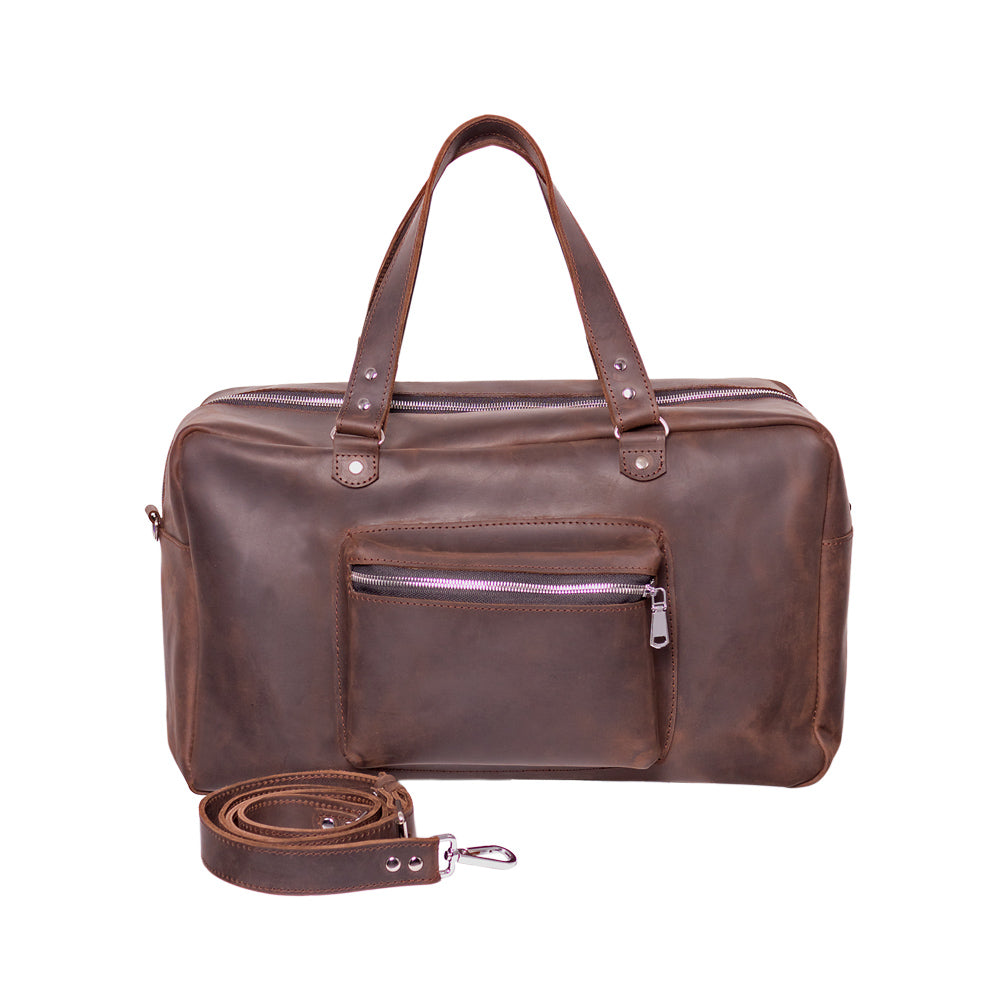 Brown leather duffle bag - 4