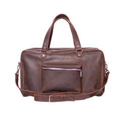 Brown leather duffle bag - 1