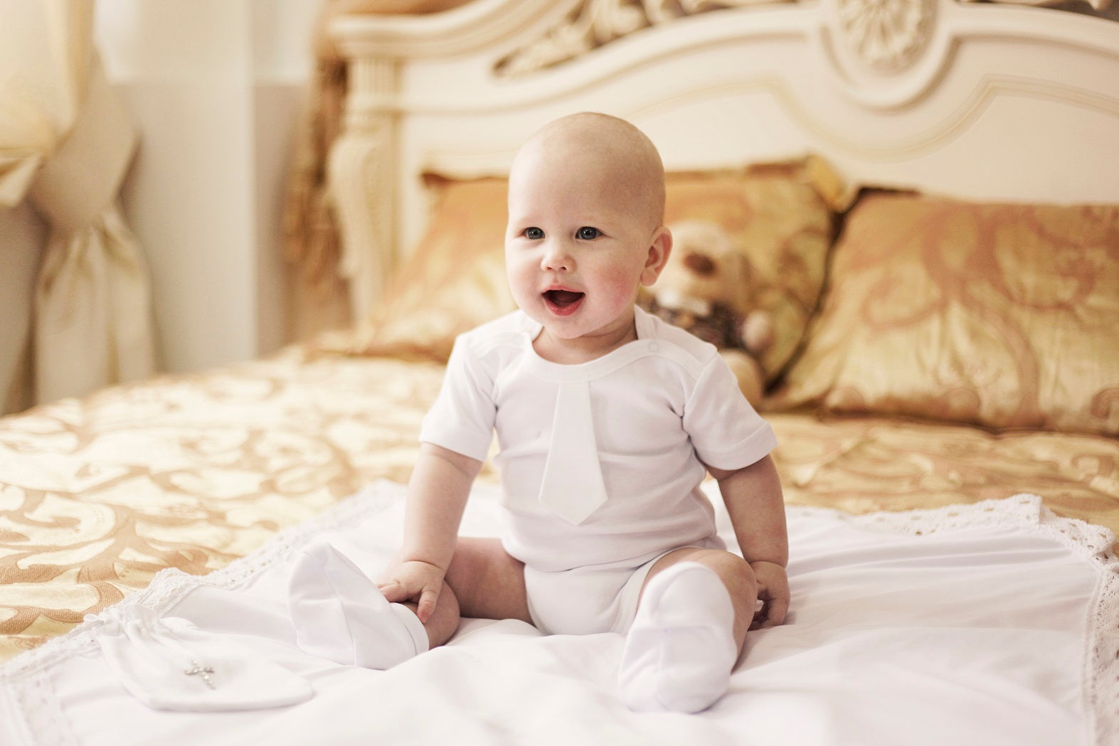 Baby boy white romper baptism set - 1