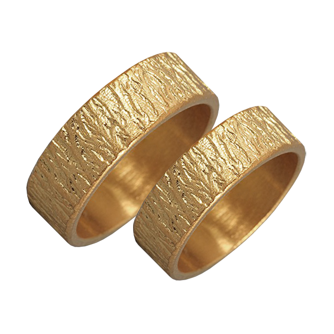 Woodgrain textured gold ring set - 1