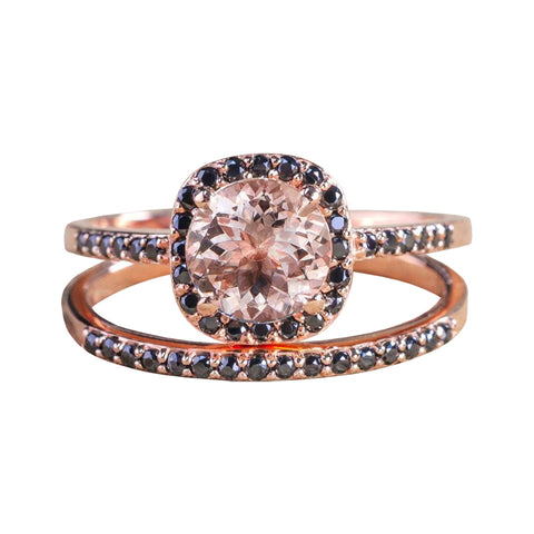 Morganite and black diamonds engagement set for her