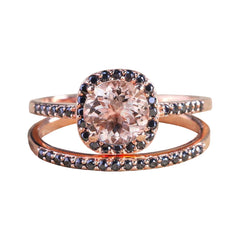 Morganite and black diamonds engagement set for her - 1