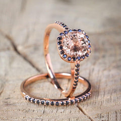 Morganite and black diamonds engagement set for her - 4