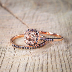 Morganite and black diamonds engagement set for her - 3