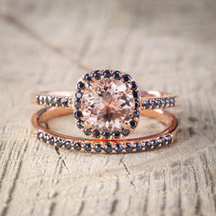 Morganite and black diamonds engagement set for her - 2