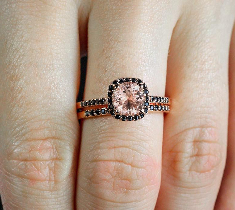 Morganite and black diamonds engagement set for her - 6