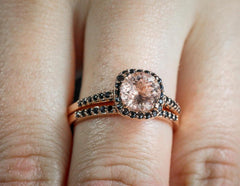 Morganite and black diamonds engagement set for her - 5
