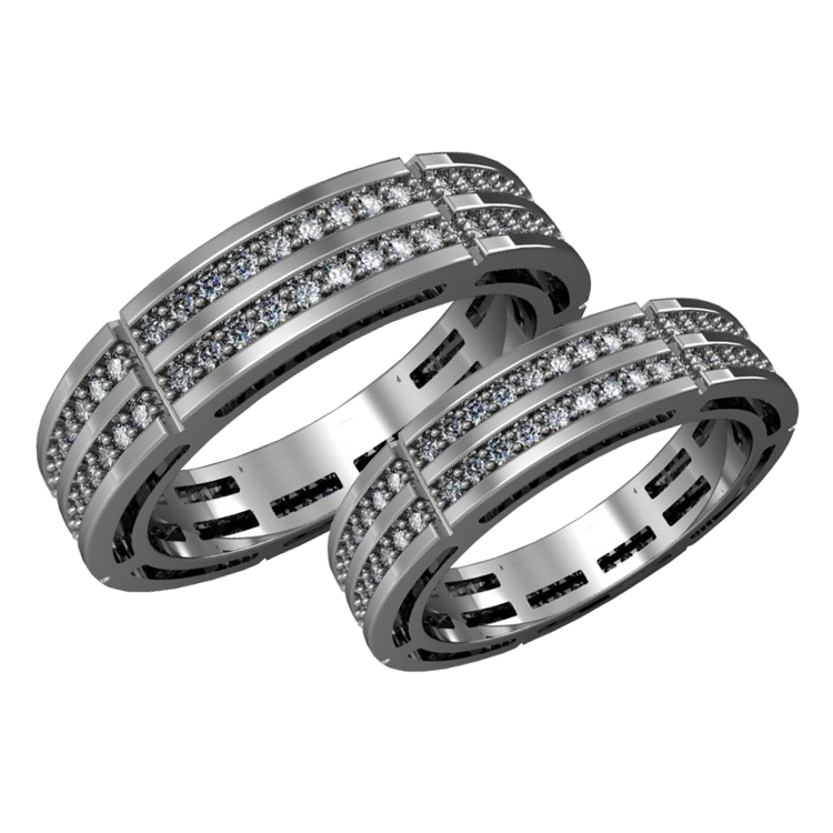 A pair of gold wedding bands with diamonds - 1