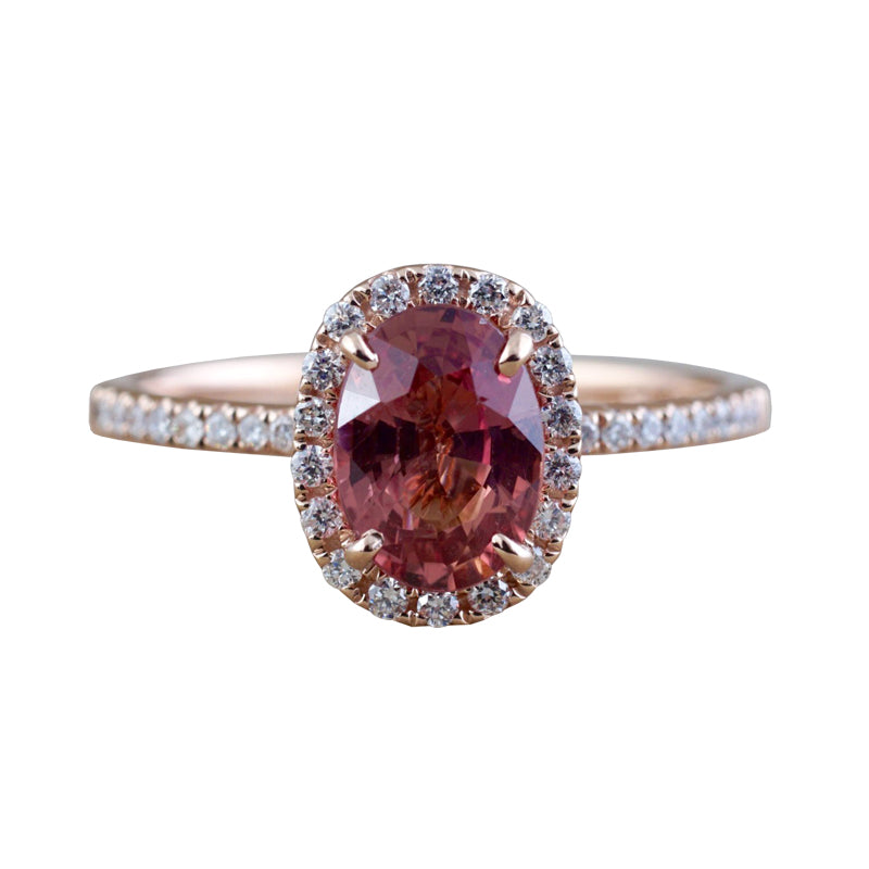 Oval peach sapphire and diamond ring - 1