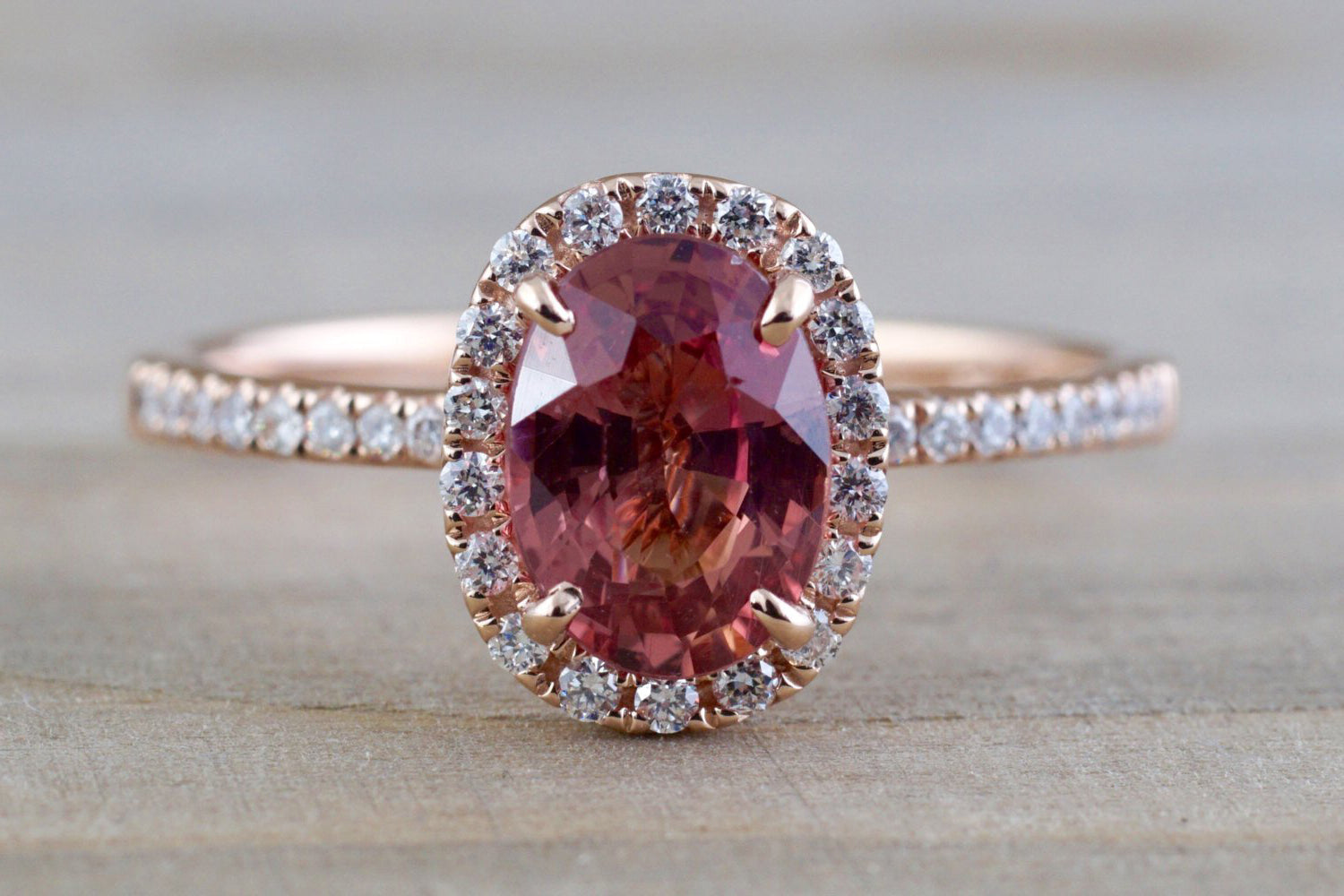 Oval peach sapphire and diamond ring - 2