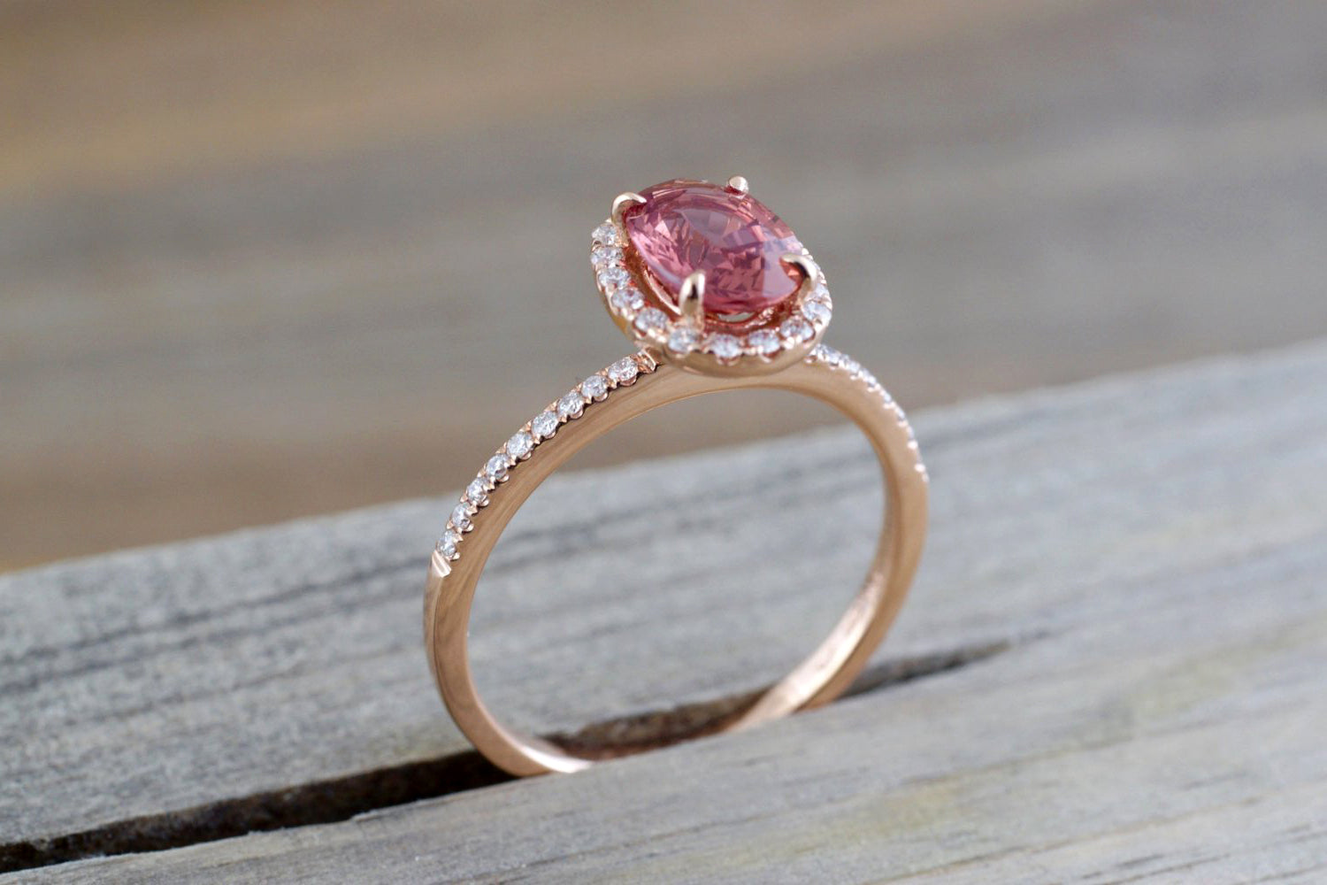 Oval peach sapphire and diamond ring - 3