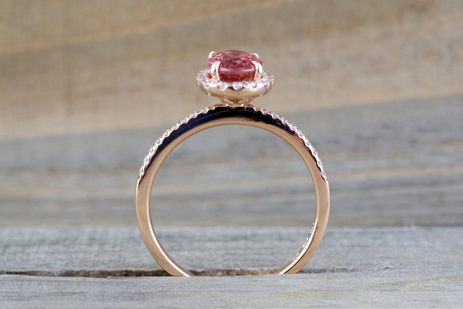 Oval peach sapphire and diamond ring - 4