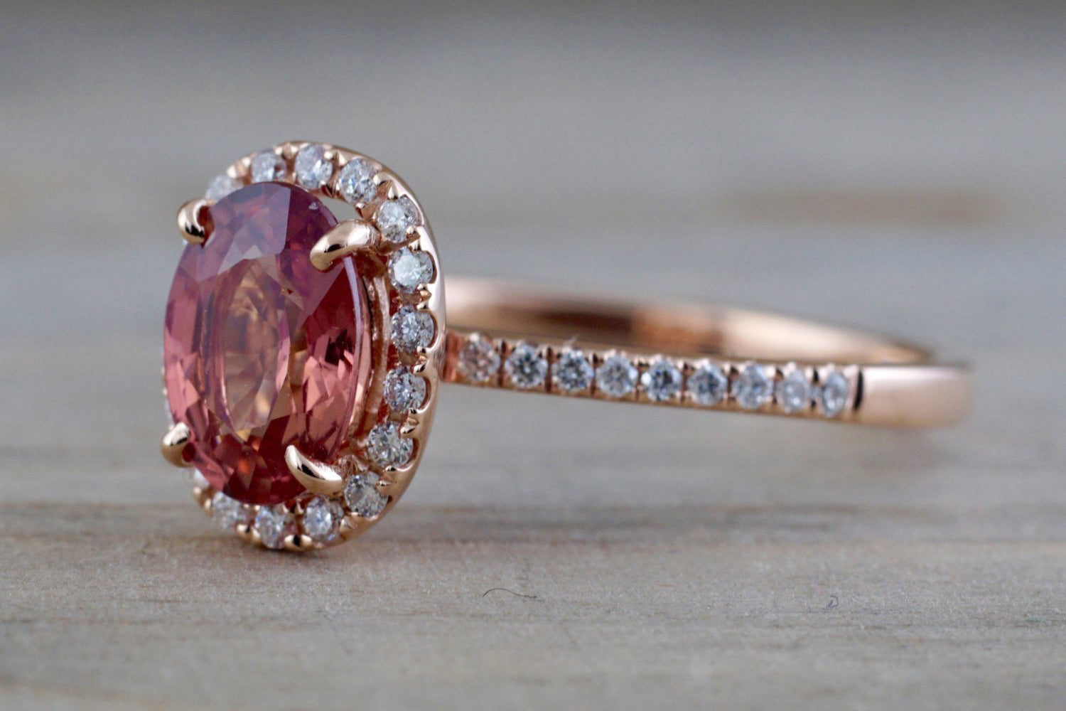 Oval peach sapphire and diamond ring - 5