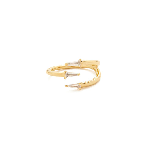 Gold topaz spiral ring