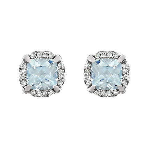 Cushion aquamarine and diamond studs