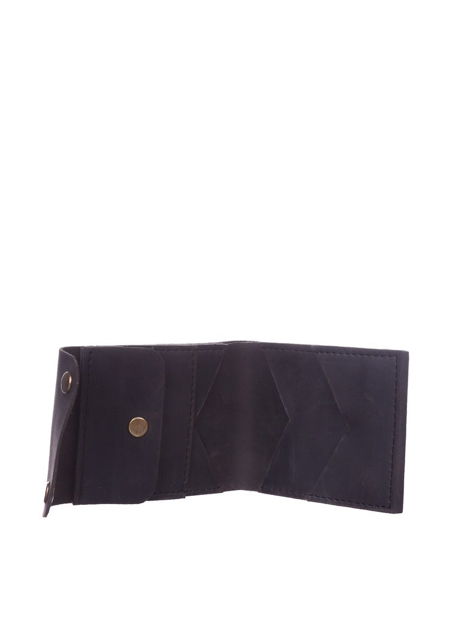 Genuine leather slim wallet black - 3