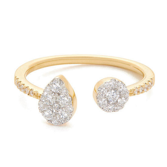 Round open ring with diamonds - 2
