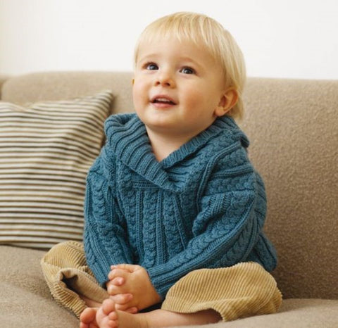 Wool blue sweater for kids