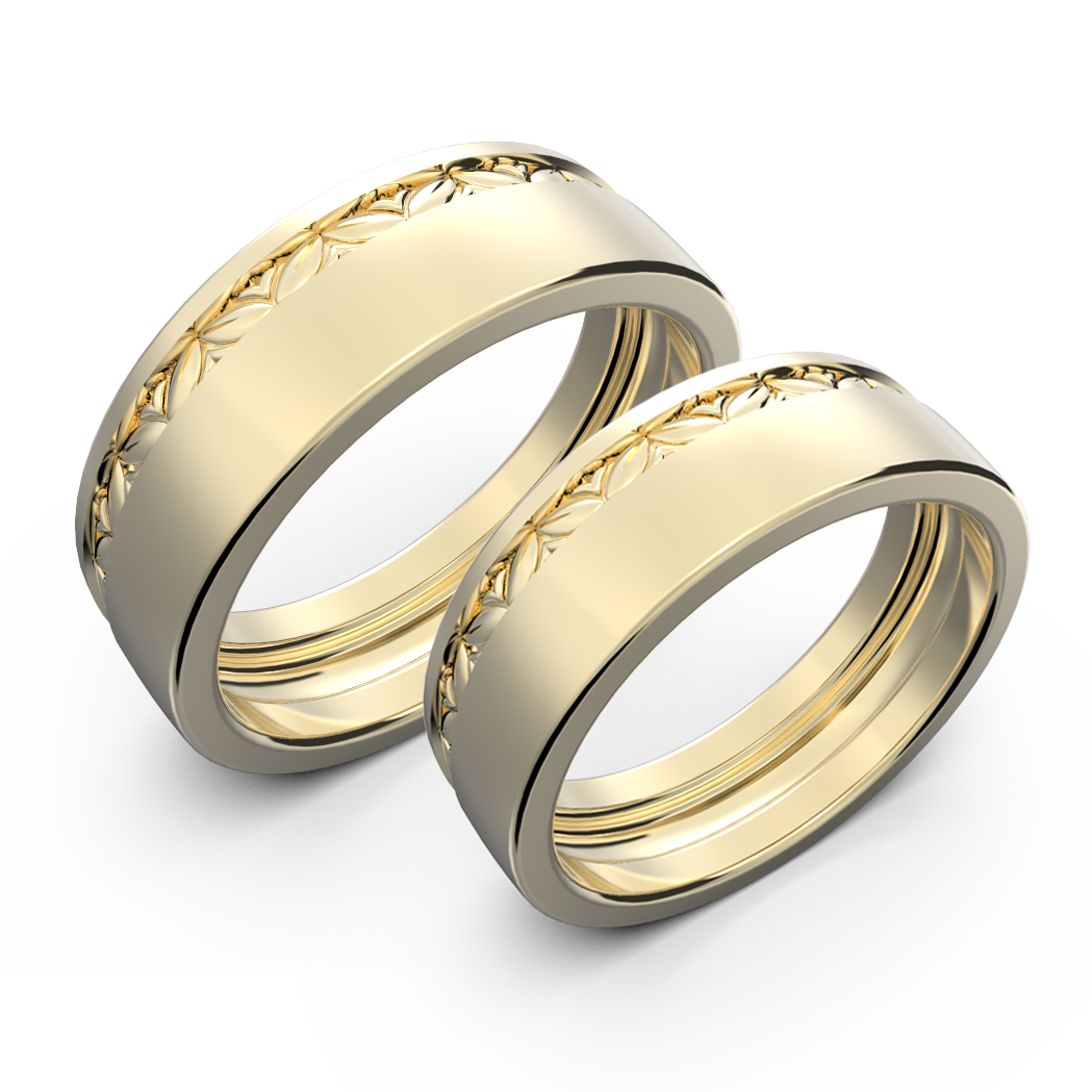 White gold wide wedding band set - 2
