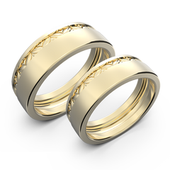 Yellow gold wide wedding band set - 1