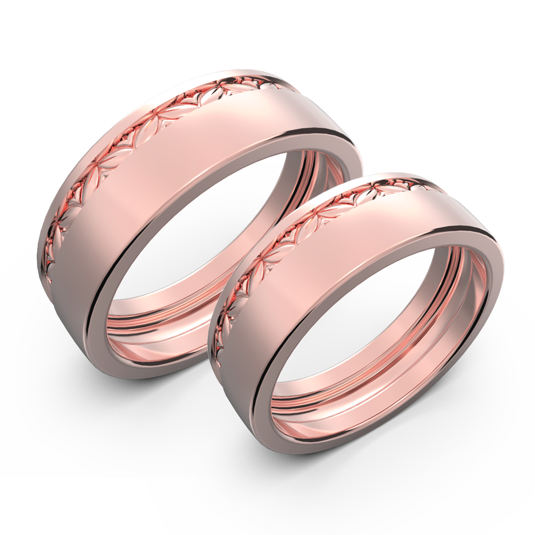 White gold wide wedding band set - 3