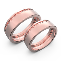 Yellow gold wide wedding band set - 3
