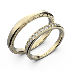 Rose gold and diamond couple wedding rings - 2