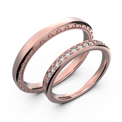 Rose gold and diamond couple wedding rings - 1