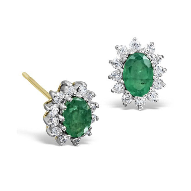 Gold emerald earrings - 2