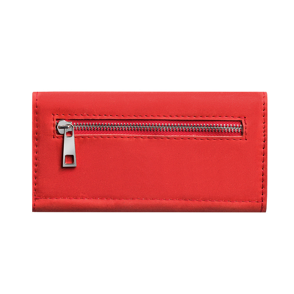 Red genuine leather bifold - 2
