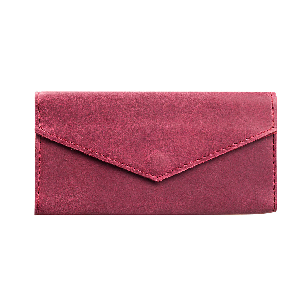 Red genuine leather bifold - 4