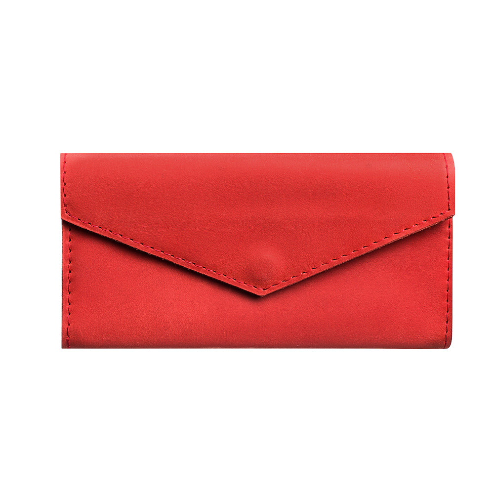 Red genuine leather bifold - 1