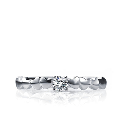 Small diamond ring with tiny hearts - 2