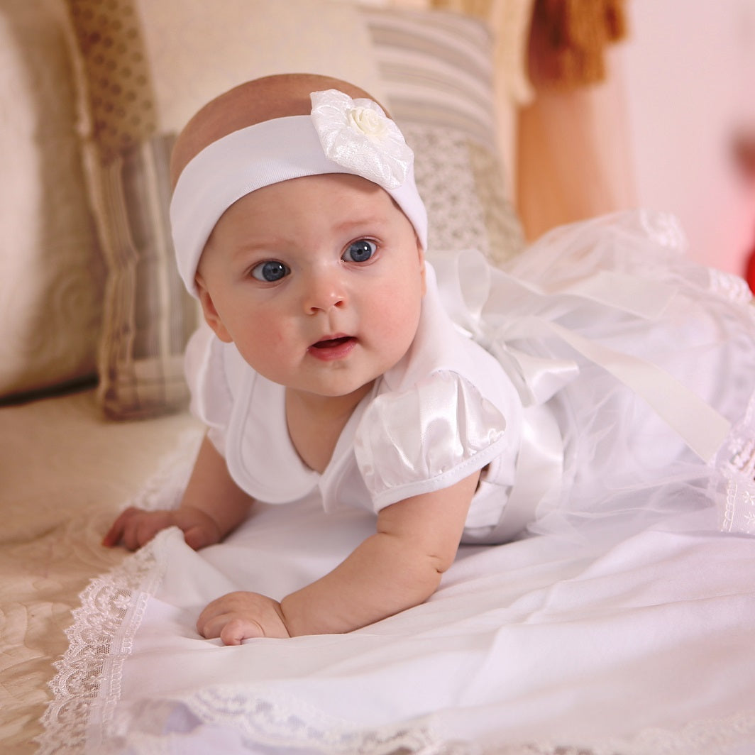 Christening romper dress baby girl set - 7